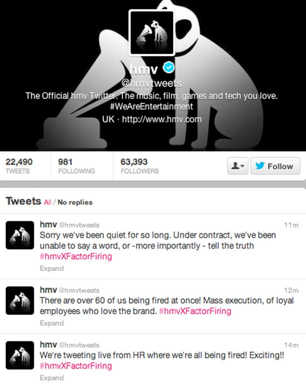 HMV Twitter Sacking