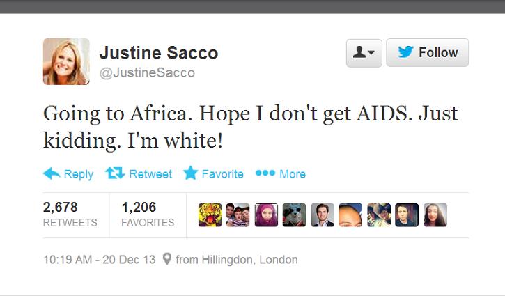 Justine Sacco Offensive Tweet