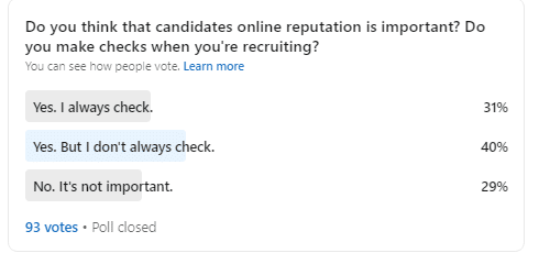 yoono - poll - importance of reputation in recruitment